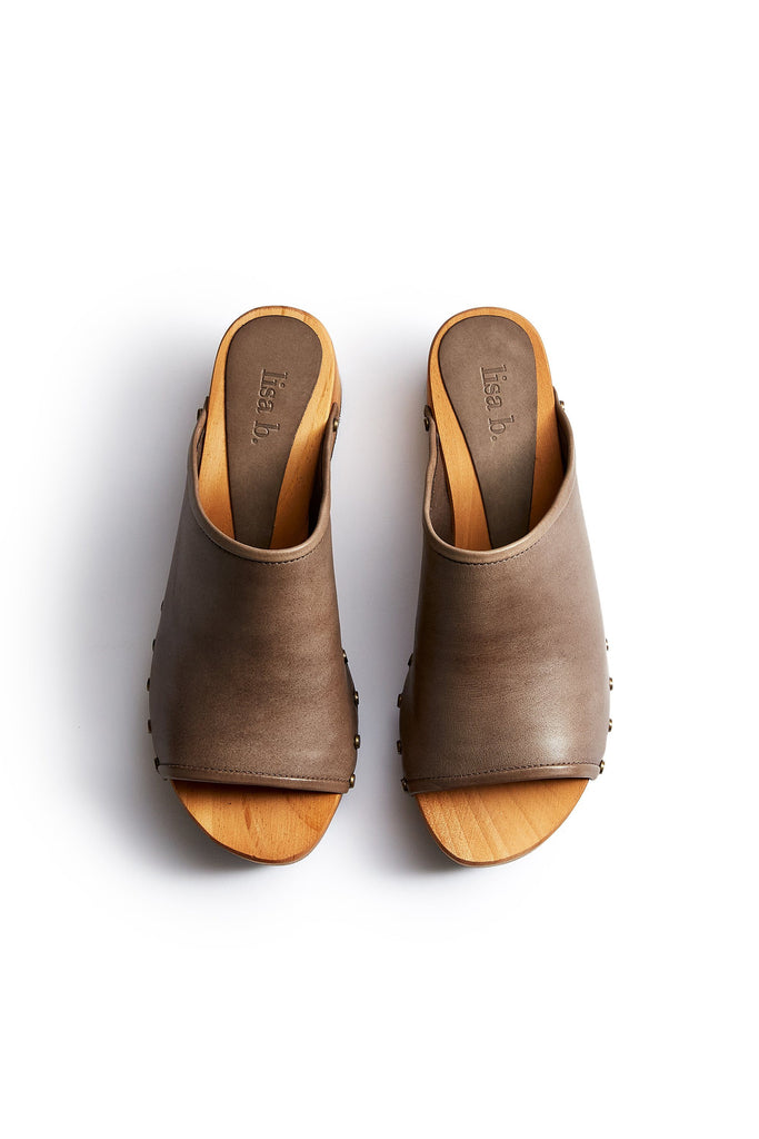 open toe slide clogs in dark taupe