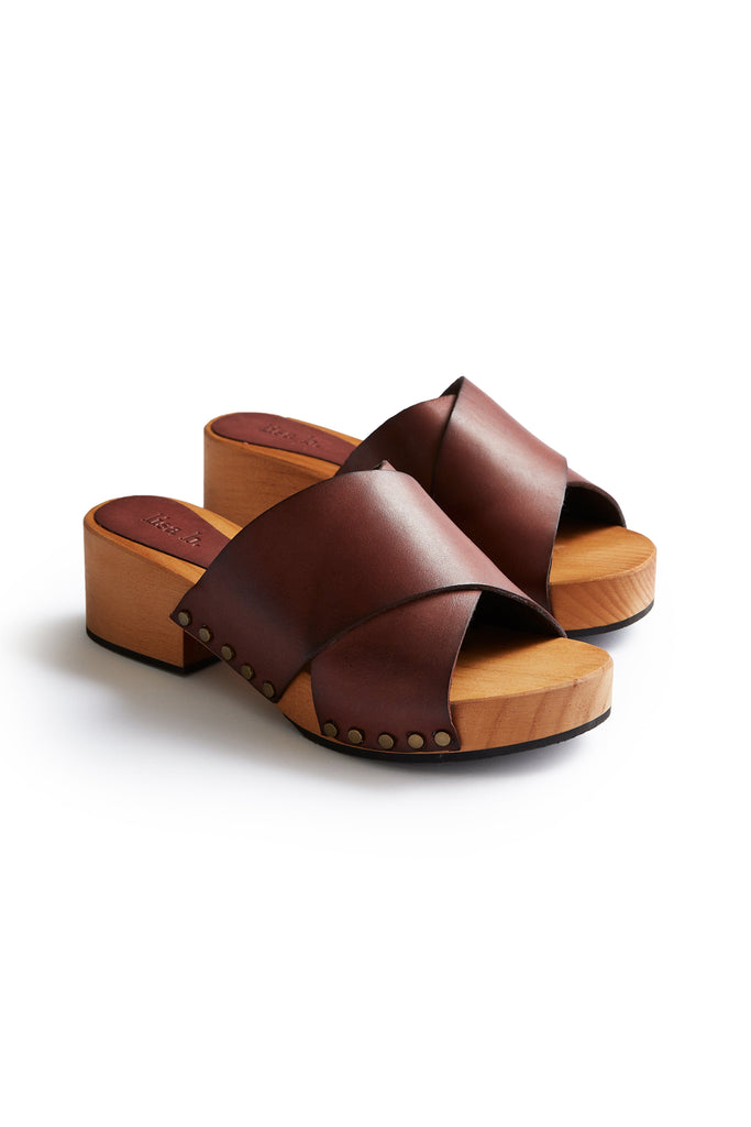 criss cross leather low heel clogs in acorn