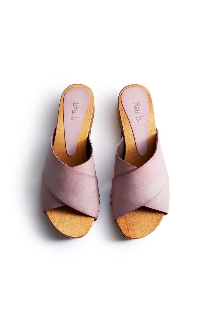 criss cross leather low heel clogs in viola