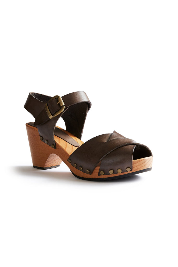 leather cross-over clogs in dark taupe