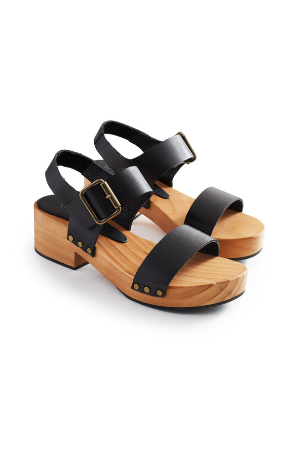 double strap leather clogs in black