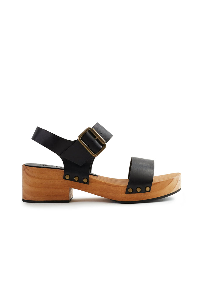 double strap clogs in black