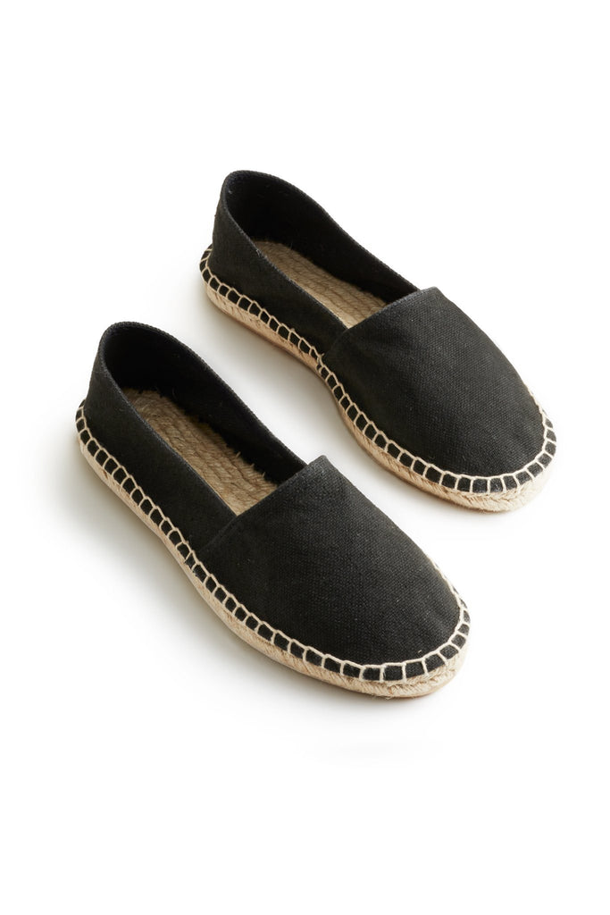 Classic espadrille black cotton pique upper, jute and rubber sole