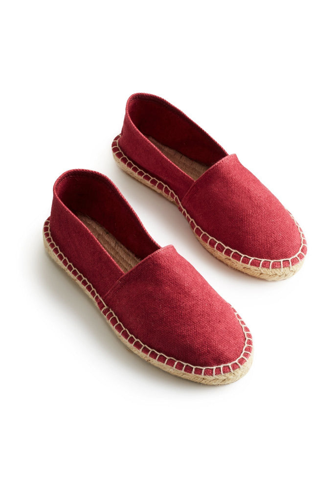 Classic espadrille red cotton pique upper, jute and rubber sole