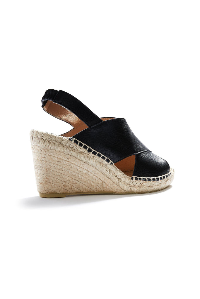 women's leather cross-over wedge espadrille in black