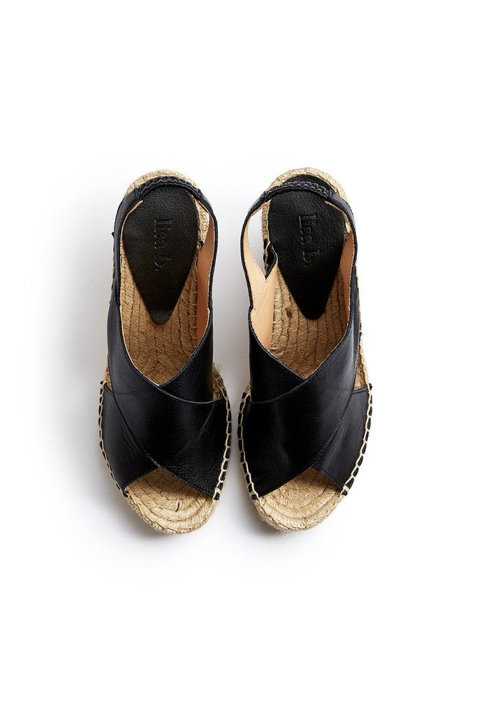 cross-over wedge espadrille in black