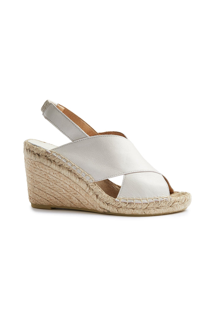 women's leather cross-over wedge espadrille in off white