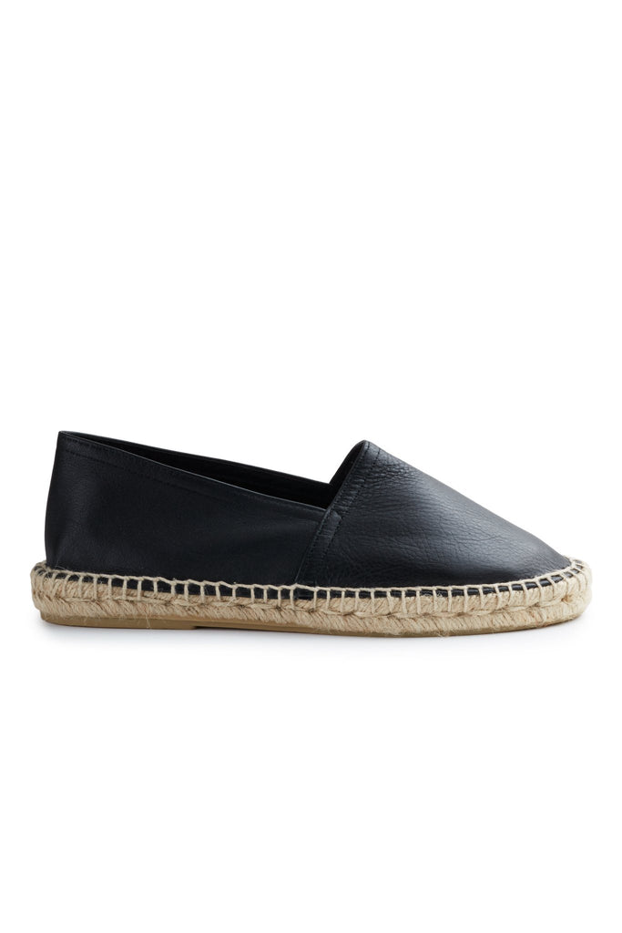 women's leather classic espadrille in black