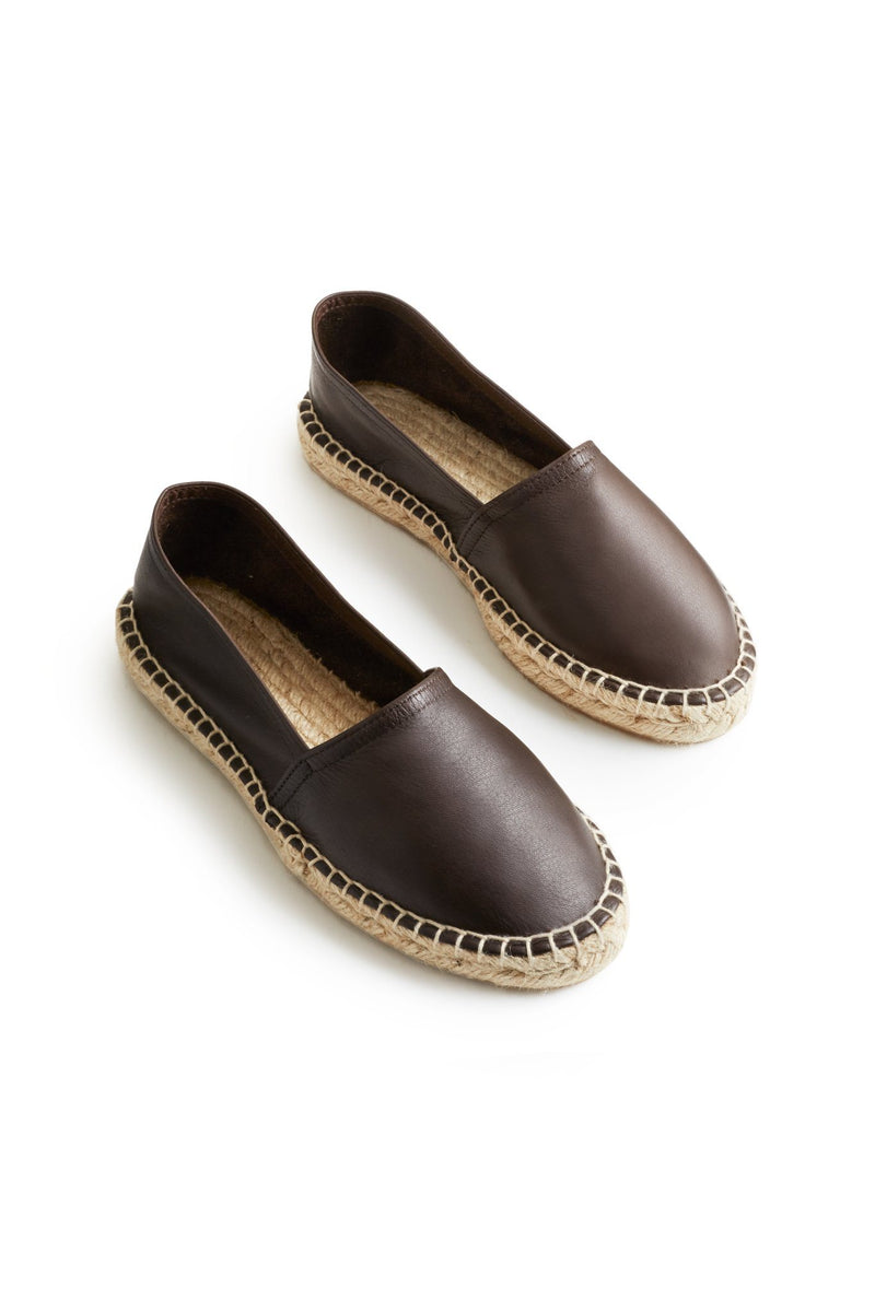 women's leather classic espadrille in dark brown