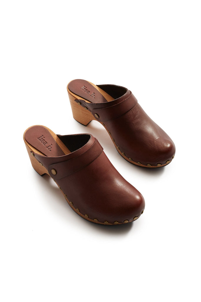 high heel leather clogs in acorn