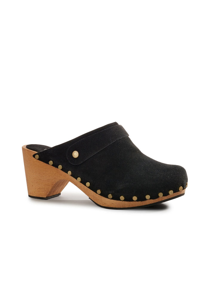 high heel suede clogs in black