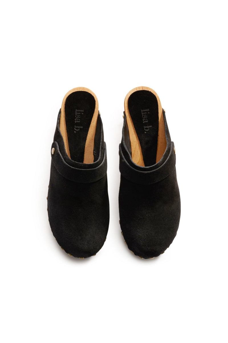 classic high heel suede clogs in black
