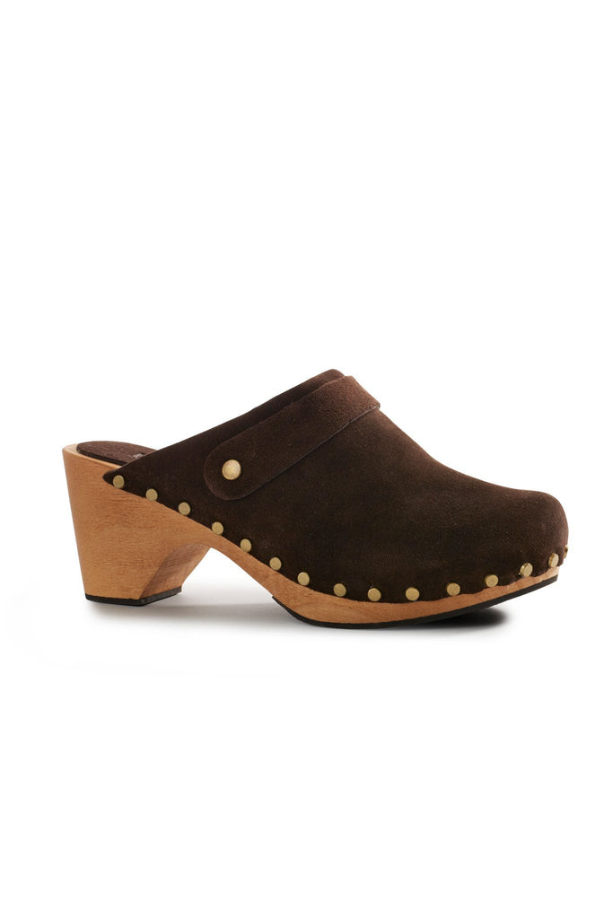 classic high heel suede clogs in dark brown