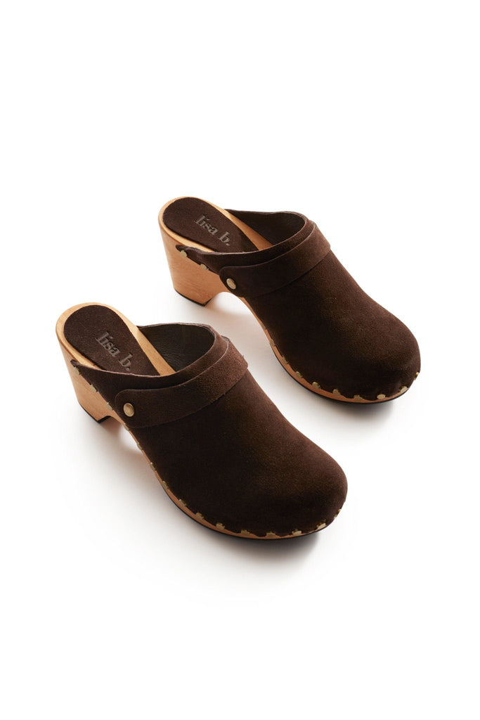 high heel suede clogs in dark brown