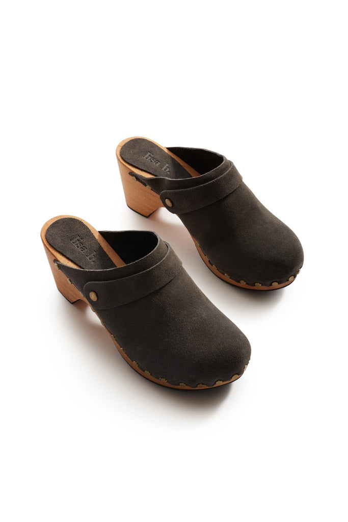 classic high heel suede clogs in grey