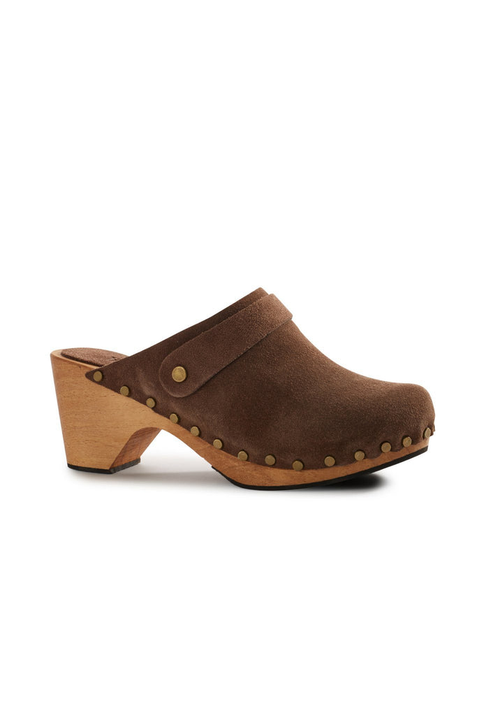 high heel suede clogs in mushroom