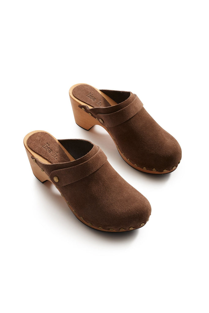 classic high heel suede clogs in mushroom