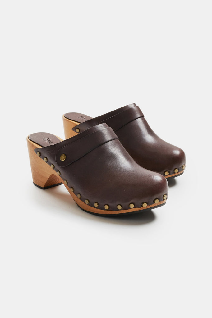 high heel leather clogs in dark brown