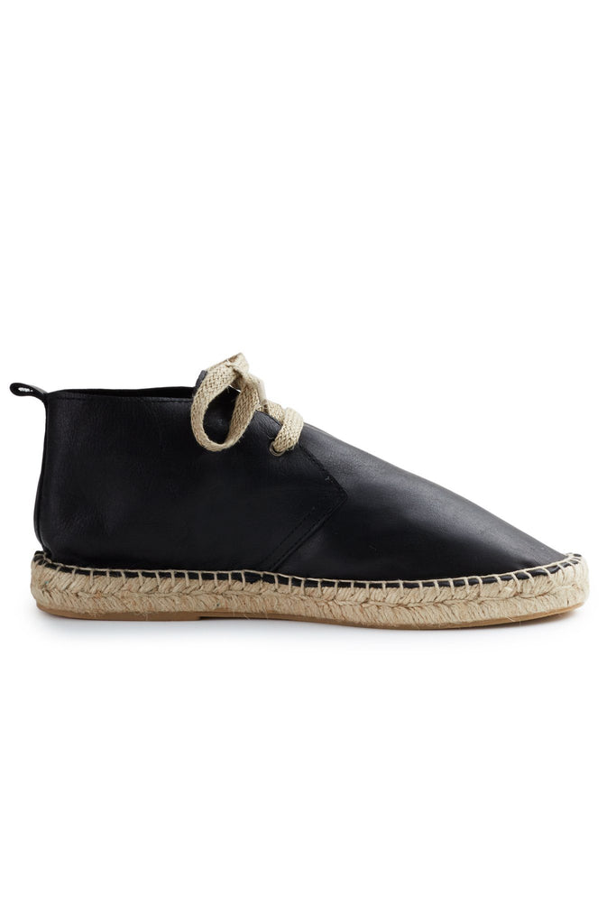 women's leather bootie espadrille in black