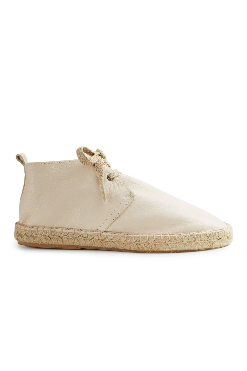 women's leather bootie espadrille in creme