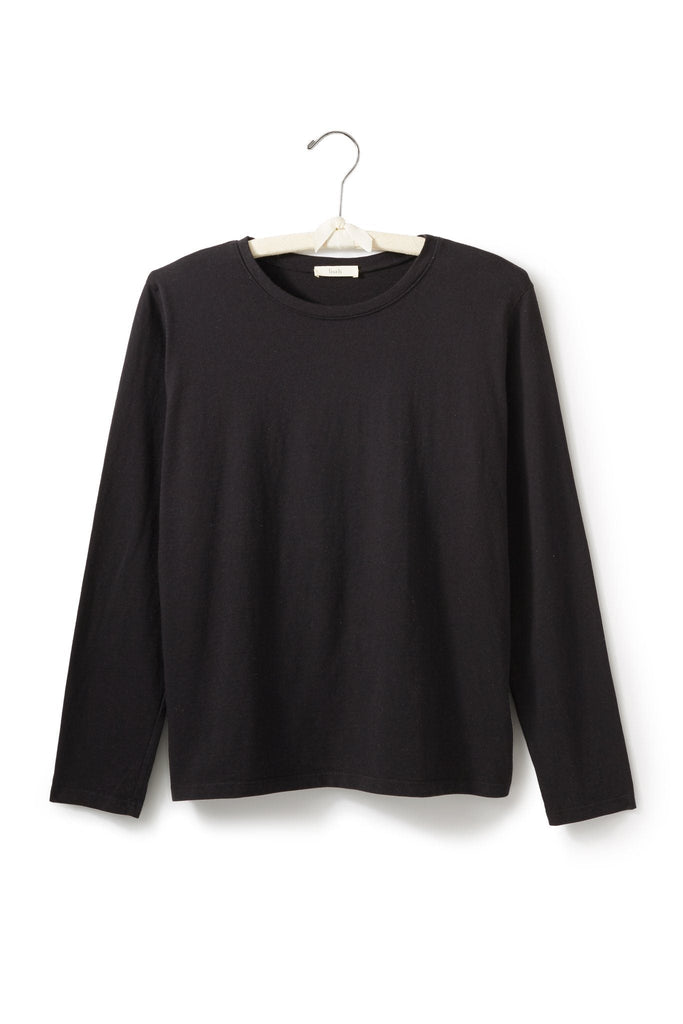 women's cotton long sleeve boxy crew t-shirt black