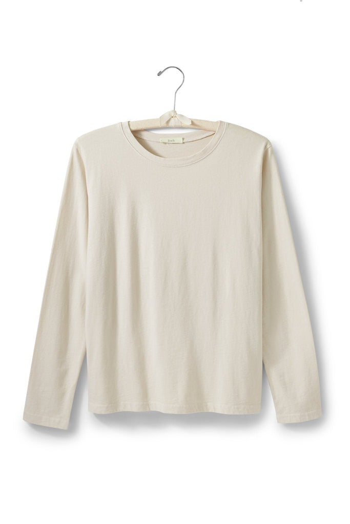 women's cotton long sleeve boxy crew t-shirt creme, natural
