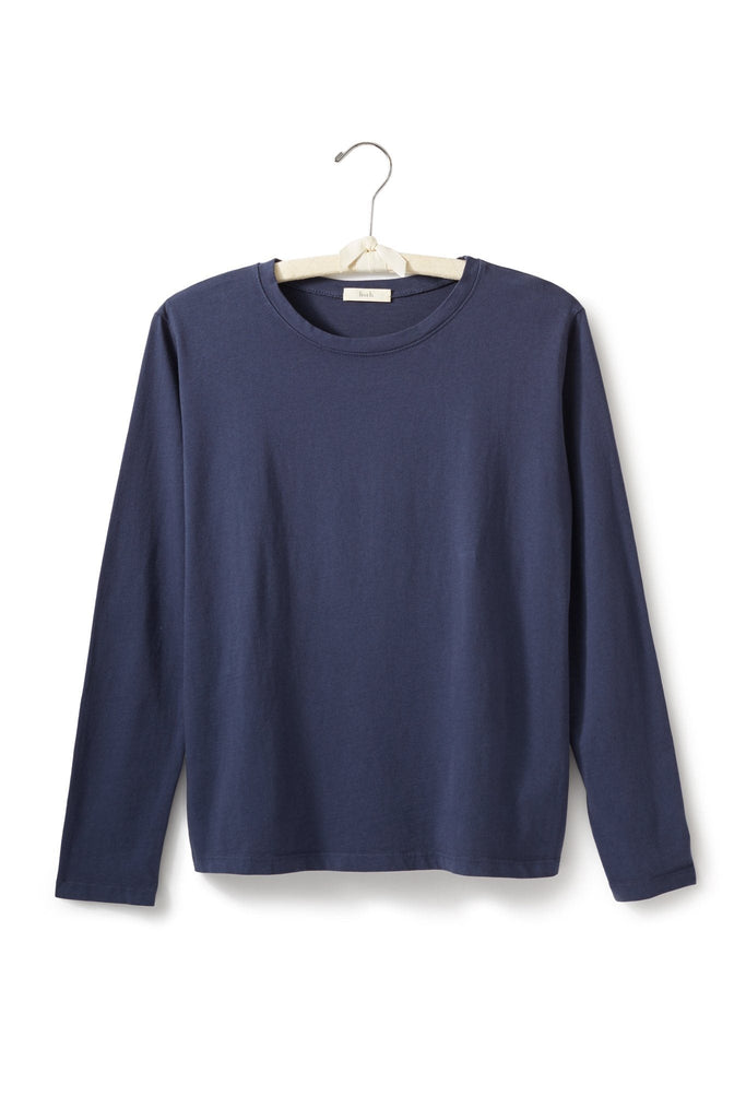 women's cotton long sleeve boxy crew t-shirt navy