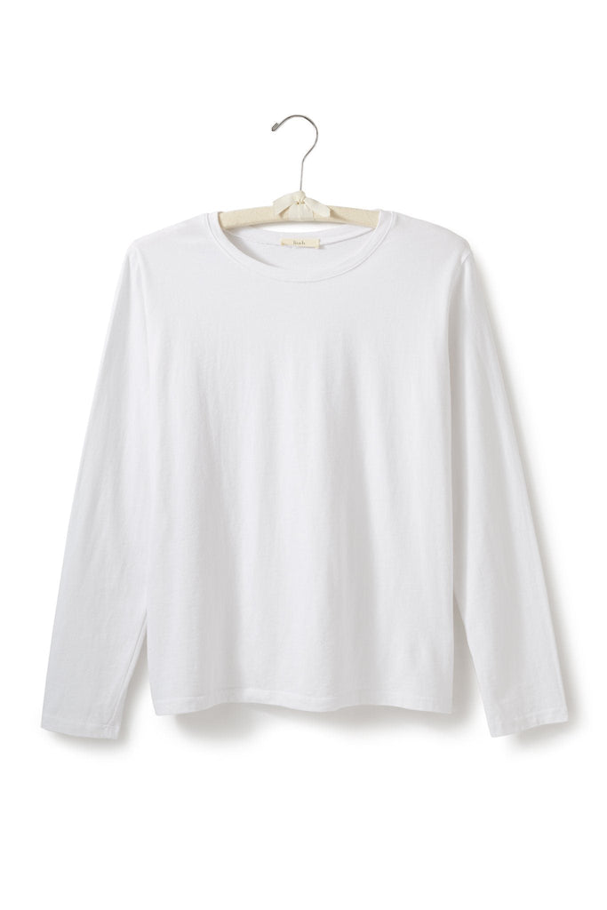 women's cotton long sleeve boxy crew t-shirt white