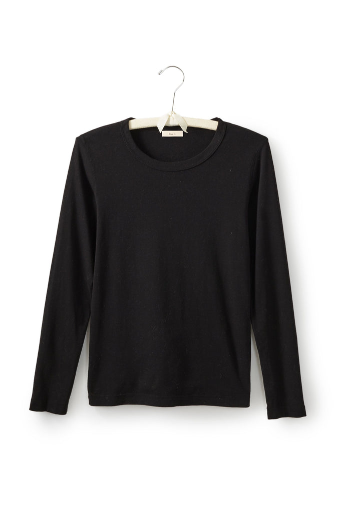 black women's cotton long sleeve scoop neck t-shirt