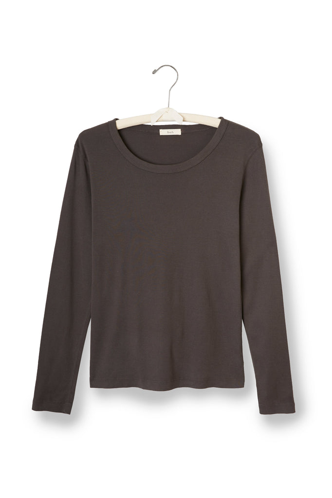 charcoal grey women's cotton long sleeve scoop neck t-shirt
