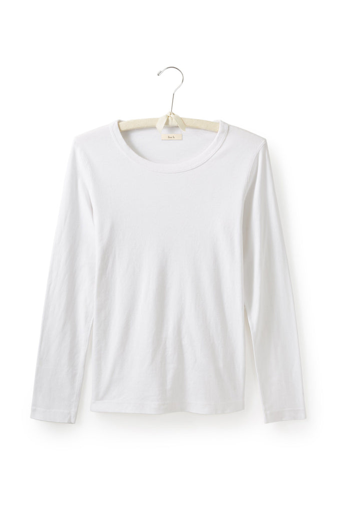 white women's cotton long sleeve scoop neck t-shirt