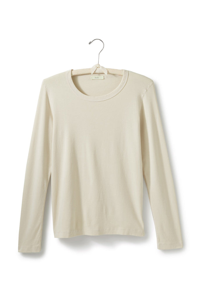 creme, natural women's cotton long sleeve scoop neck t-shirt