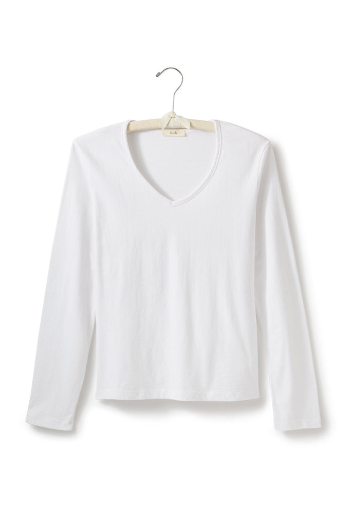 women's cotton long sleeve relaxed v-neck t-shirt white