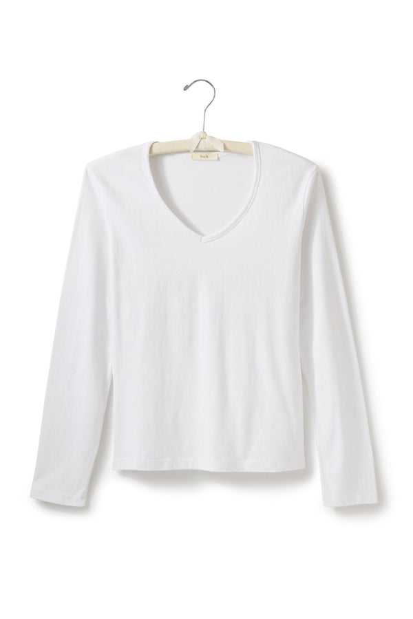 long sleeve fitted v-neck t-shirt in white