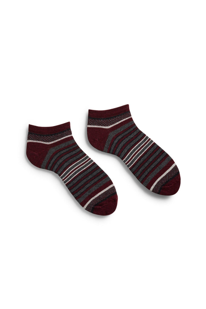 men's burgundy checks and stripes cotton shortie socks