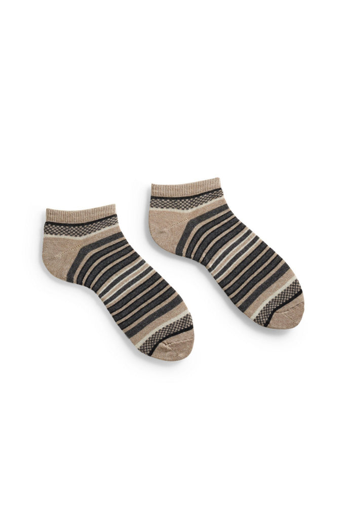 men's flax checks and stripes cotton shortie length socks