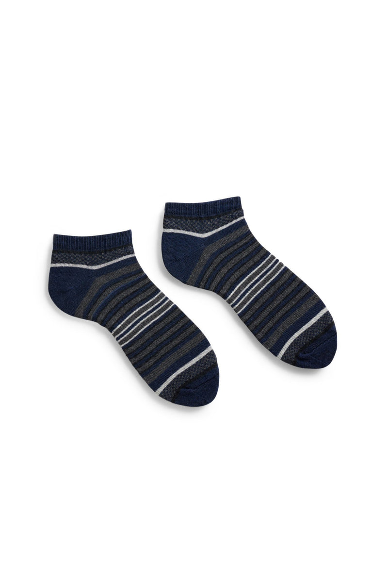 men's navy checks and stripes cotton shortie socks
