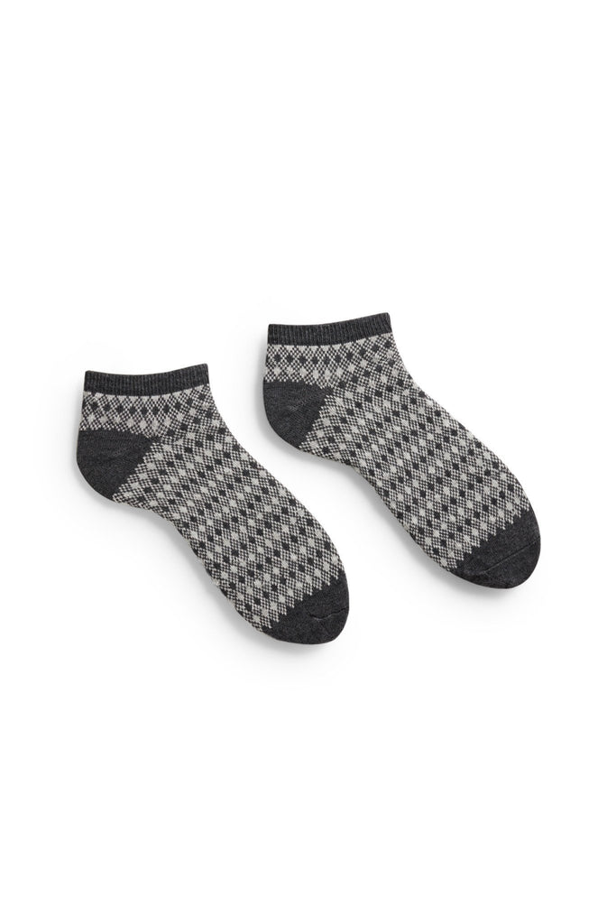 men's charcoal diamond and birdseye cotton shortie socks