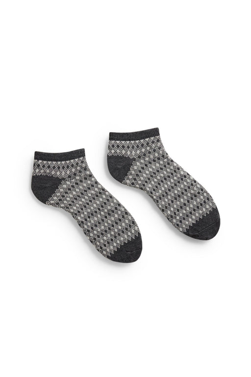 men's charcoal diamond and birdseye cotton shortie length socks