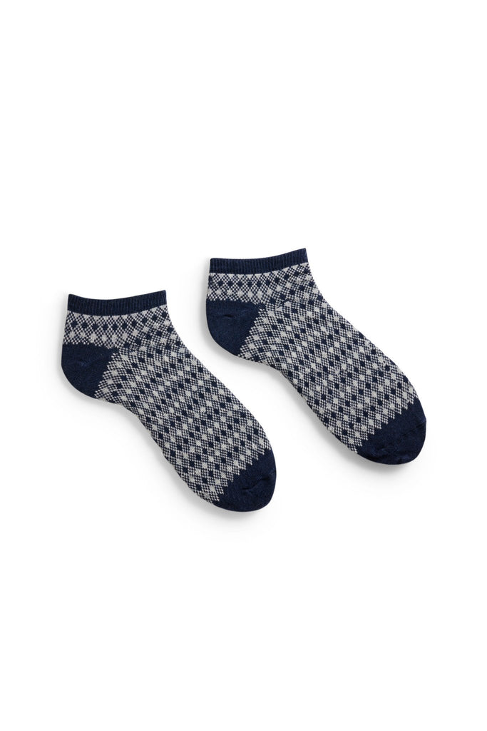 men's navy diamond and birdseye cotton shortie socks