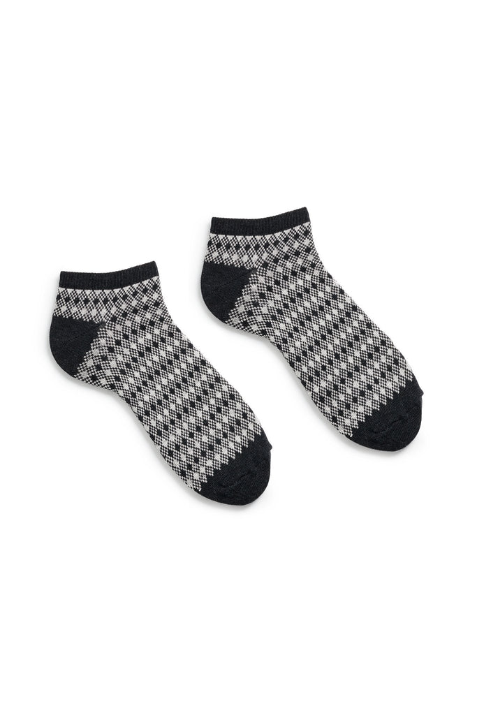 men's black diamond and birdseye cotton shortie length socks