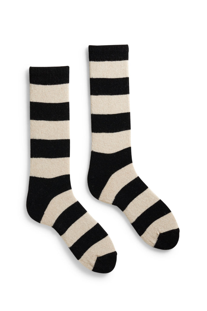 men's black rugby stripe wool and cashmere crew length socks