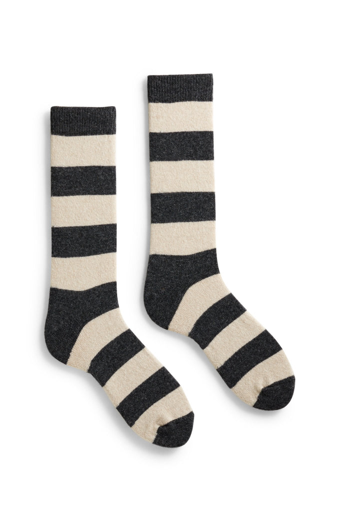 men's charcoal rugby stripe wool and cashmere crew length socks