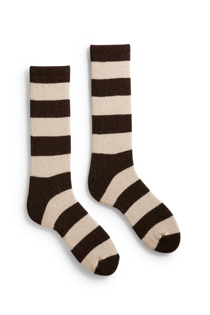 men's espresso rugby stripe wool and cashmere crew length socks