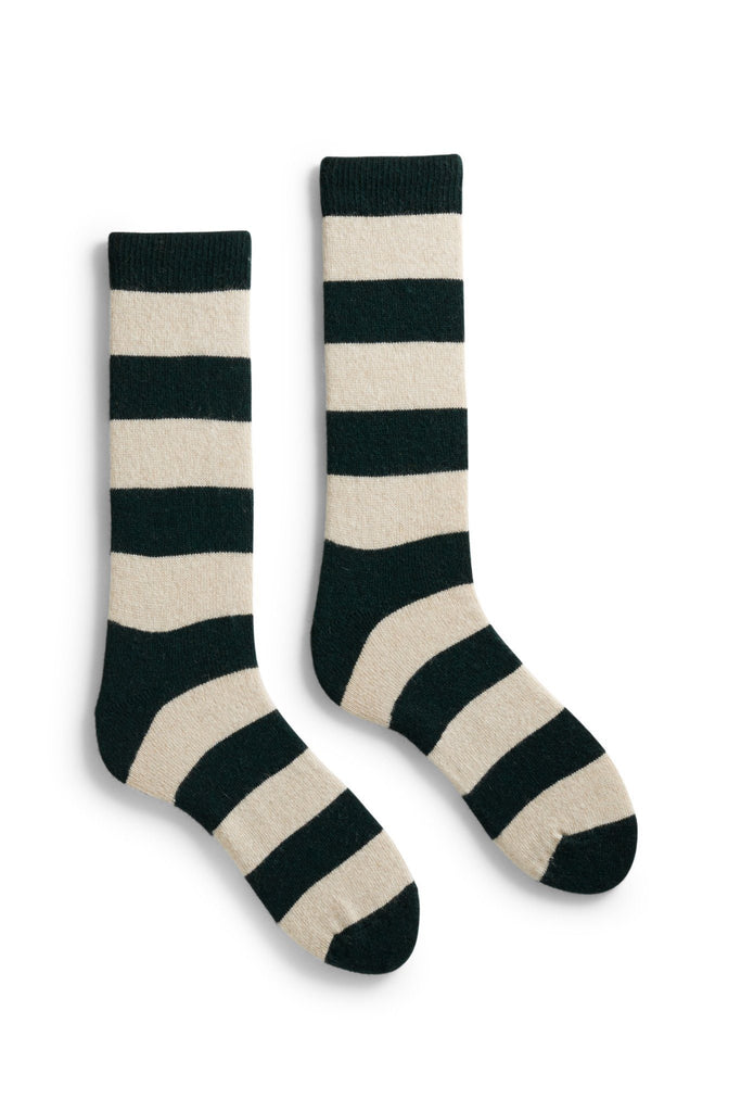 men's ivy rugby stripe wool and cashmere crew length socks