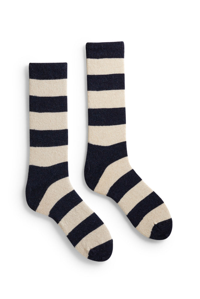 men's navy rugby stripe wool and cashmere crew length socks