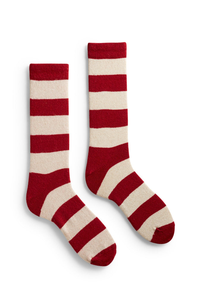 men's red rugby stripe wool and cashmere crew length socks