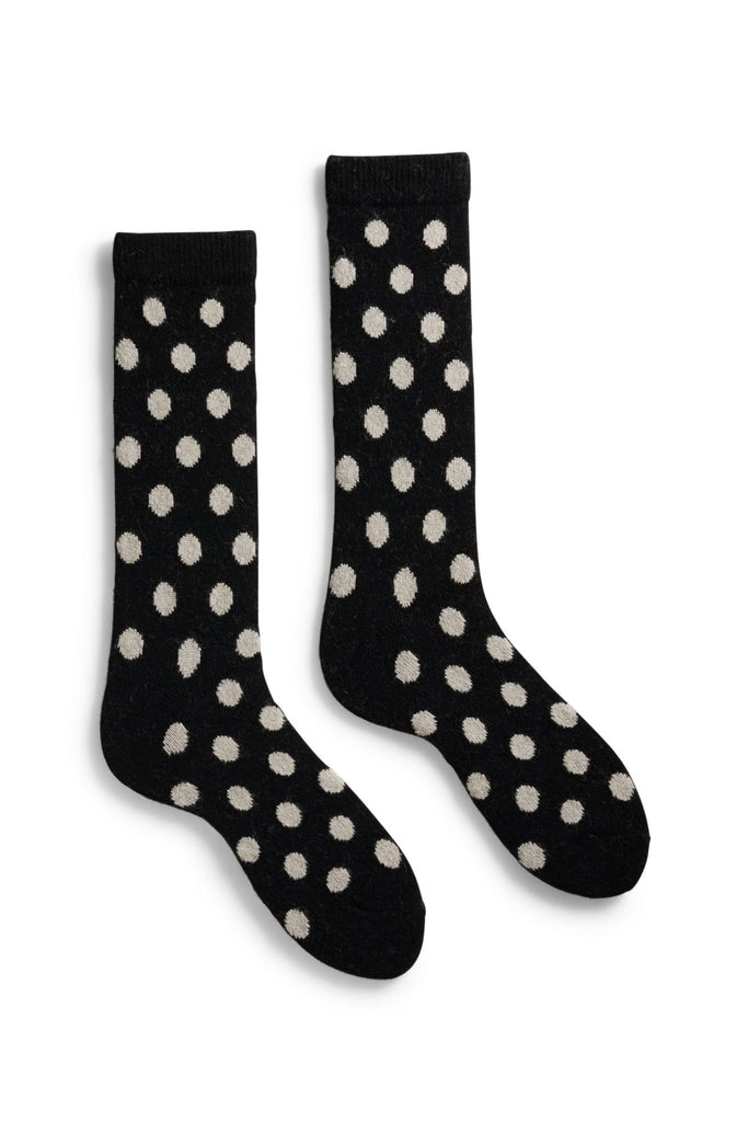 black men's classic dot wool cashmere crew socks