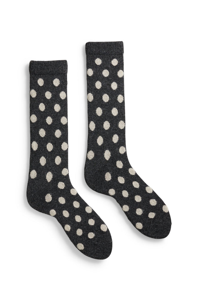 charcoal men's classic dot wool cashmere crew socks