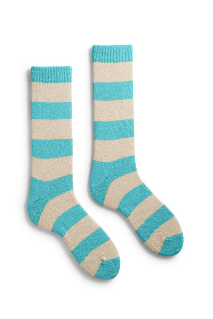 arctic blue rugby stripe wool cashmere crew socks